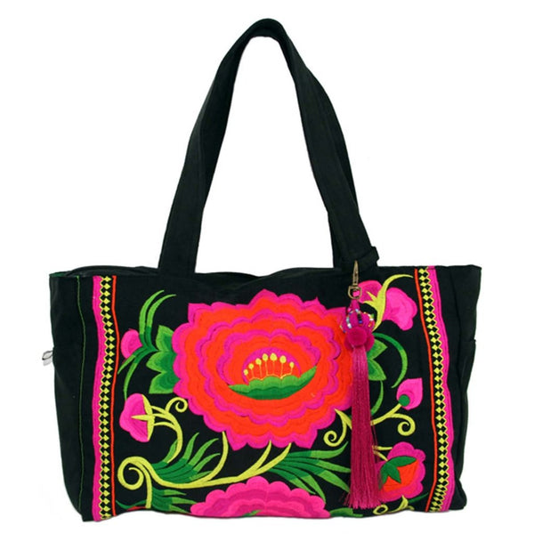 Global Groove London Rose Bag in Pink/Black (Fair Trade) - Fine Design Trading Company