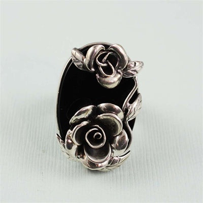 Handcrafted Agate Roses Ring