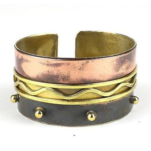 Brass Images Trifecta Brass and Copper Cuff (Fair Trade) - Fine Design Trading Company