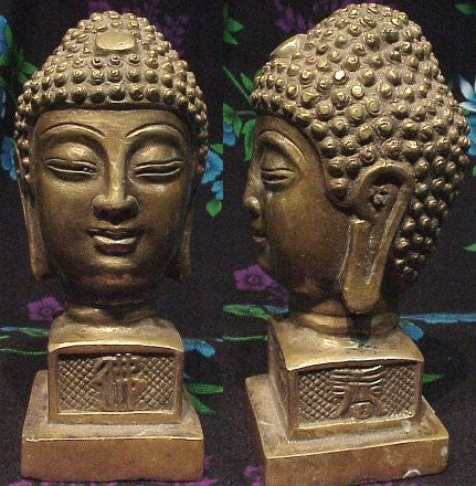 Gorgeous Old Style Authentic Reproduction Bronze Buddha Head Chop (Imported) - Fine Design Trading Company