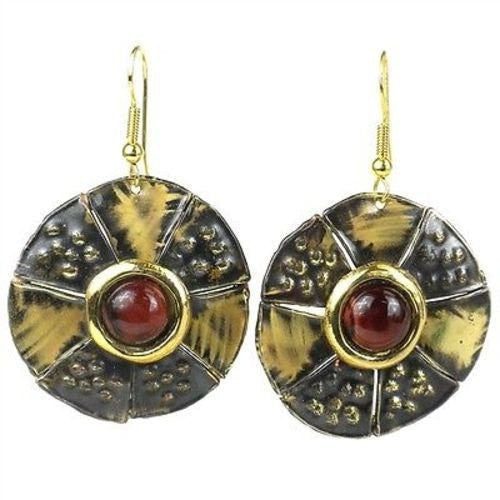 Brass Images 'Roulette' Red Tiger Eye Brass Earrings (Fair Trade) - Fine Design Trading Company