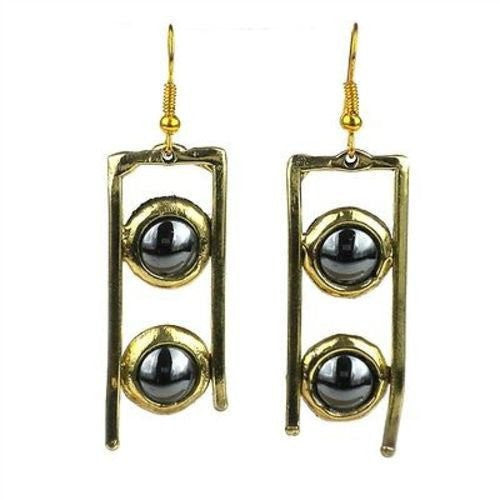 Brass Images Hematite and Brass Ladder Earrings (Fair Trade) - Fine Design Trading Company