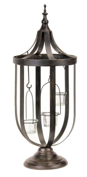 "22"" Decorative Antique-Style Bronze Birdcage Glass Votive Candle Holder - Fine Design Trading Company"