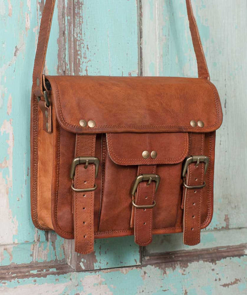 Genuine Leather Hadley Crossbody Buckle Bag - Fine Design Trading Company
