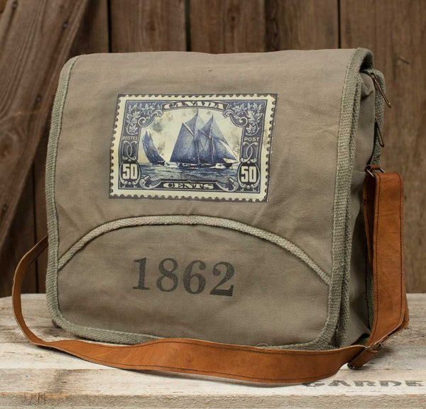 Unique Vintage Canvas with Leather 1862 Messenger Bag - Fine Design Trading Company