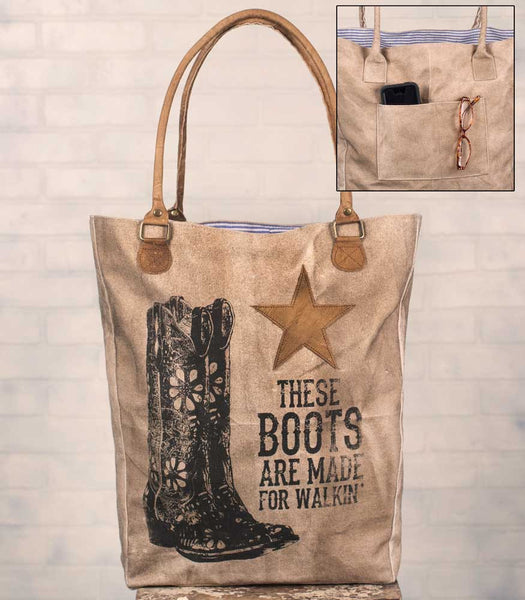 'These Boots' Canvas/Leather Market Bag - Fine Design Trading Company