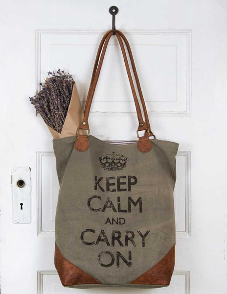 'Keep Calm' Canvas/Leather Tote Bag - Fine Design Trading Company