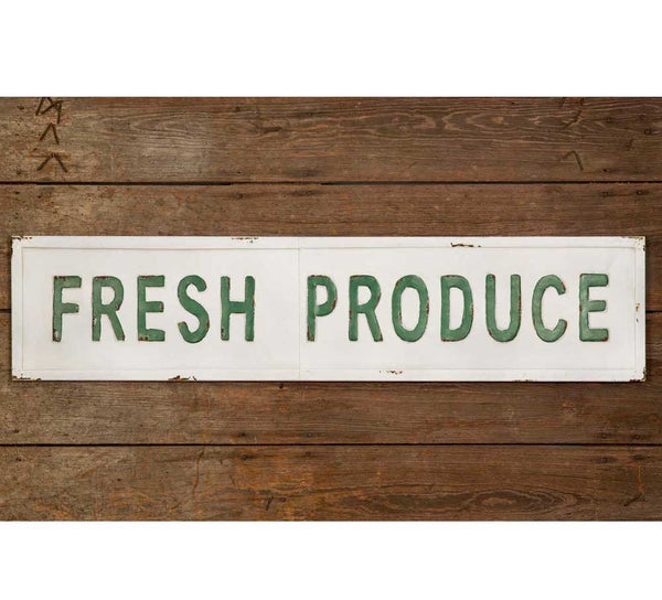 'Fresh Produce' Metal Wall Sign - Fine Design Trading Company