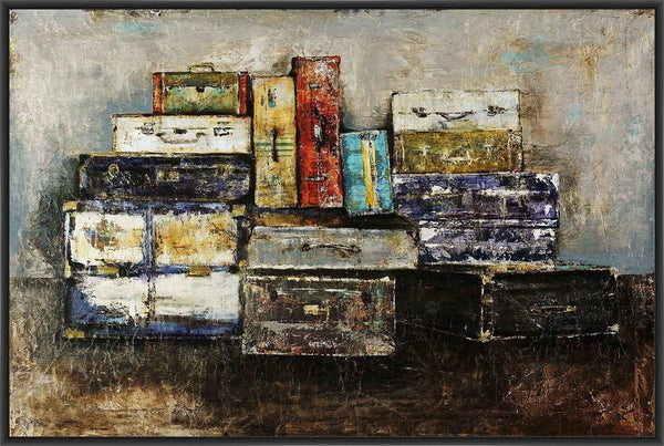 'Baggage Claim' 22L X 28H Floater Framed Art Giclee Wrapped Canvas - Fine Design Trading Company