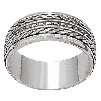 New Frescos Sterling Silver Bali Twin Edge Dash Center Mens Spinner Ring - Fine Design Trading Company