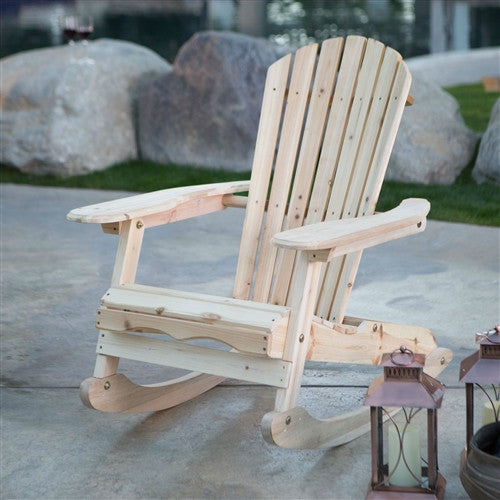 Patio Porch All Weather Indoor / Outdoor Natural Adirondack Rocking Chair - Fine Design Trading Company