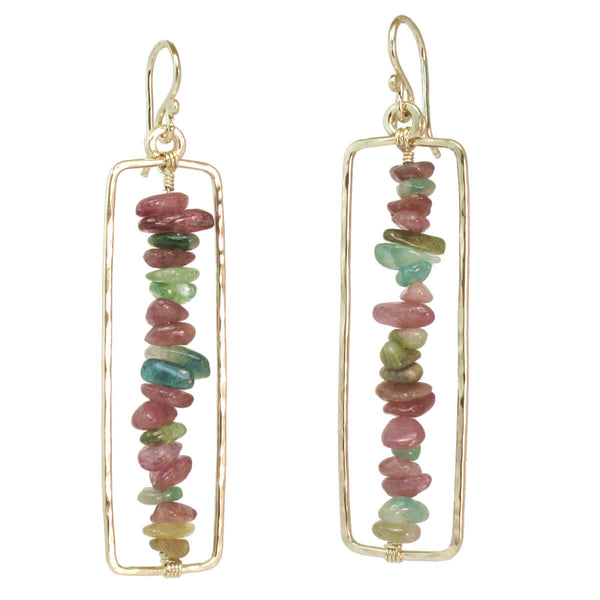 Calico Juno Designs Hammered Drop Precious Stone Earrings - Fine Design Trading Company