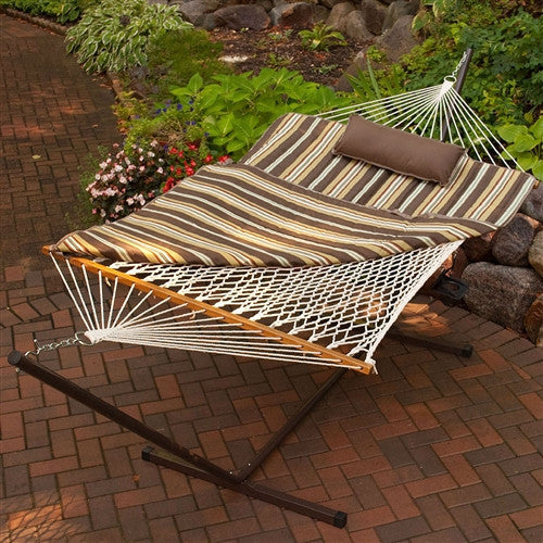Outdoor Patio Deck 11-Ft Hammock with Metal Stand and Pad Pillow Set - Fine Design Trading Company