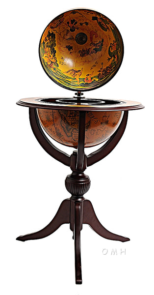 Beautiful! Old Nautical Wood Globe Bar