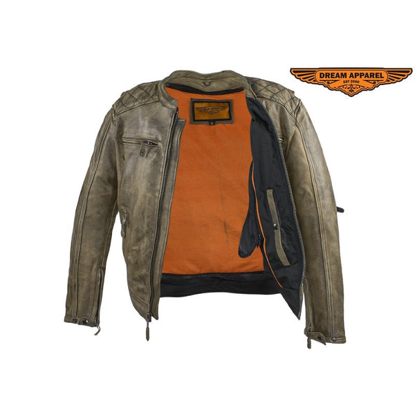 Dealer Leather Mens Distressed Brown Leather Motorcycle Jacket With Diamond Pattern - Fine Design Trading Company