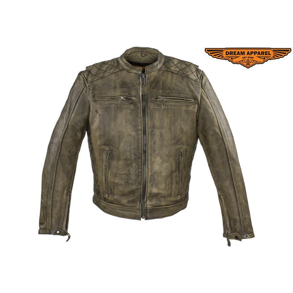 Dealer Leather Premium Mens Distressed Brown Leather Motorcycle Jacket - Fine Design Trading Company