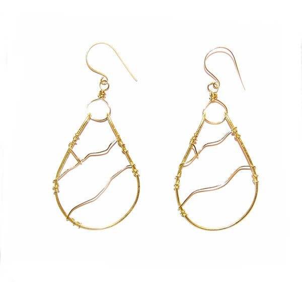 (Exclusive) A. Camarota Brass Hoop Wire Design Earrings - Fine Design Trading Company