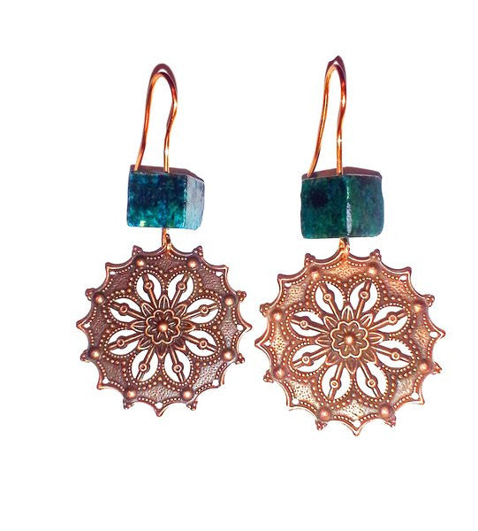 A Camerota Copper Earrings with Turquoise Stone Emellishment - Fine Design Trading Company