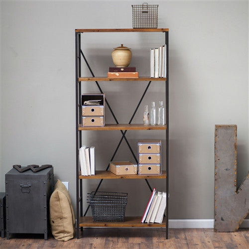 5-Shelf Bookcase with Fir Wood Shelves 68-inch Tall in Rustic Bronze - Fine Design Trading Company