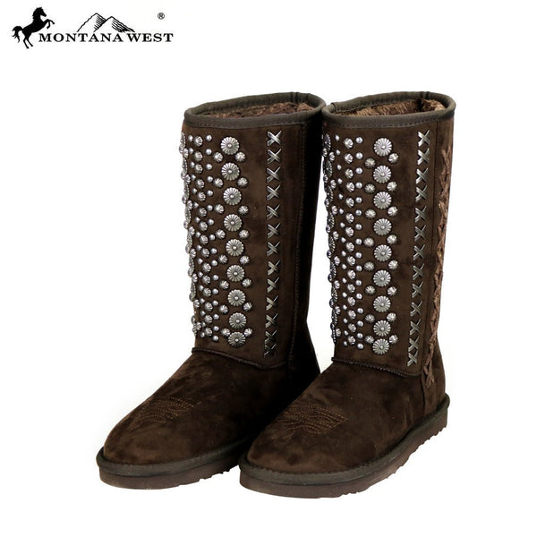 Montana West Studs Collection Boots Coffee