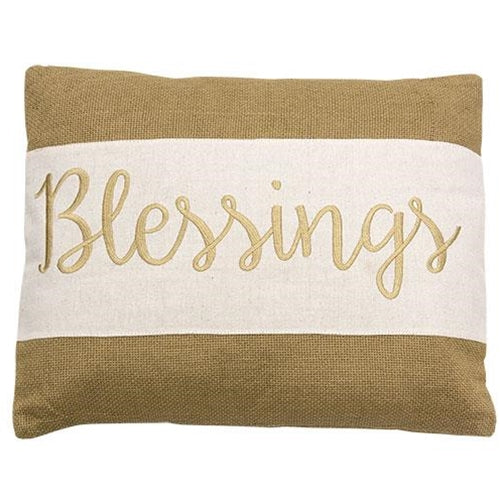 'Blessings' Burlap Pillow - Fine Design Trading Company
