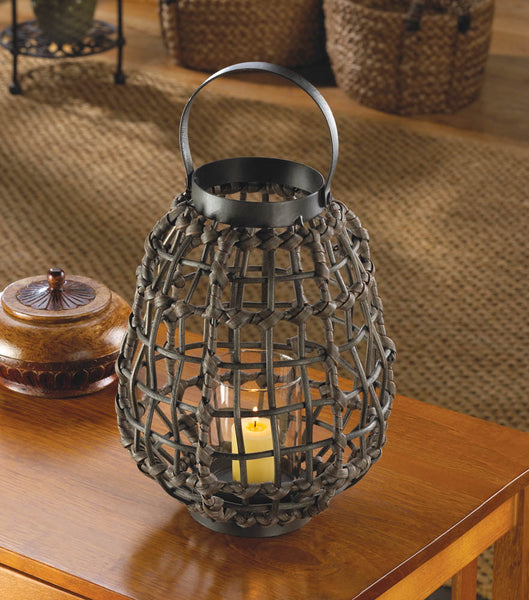 Knotted Rattan Candle Lantern - Fine Design Trading Company