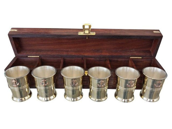 "Brass Anchor Shot Glasses With Rosewood Box 12"" - Set of 6 - Fine Design Trading Company"