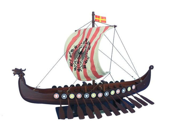 "Wooden Viking Drakkar with Embroidered Raven Limited Model Boat 24"" - Fine Design Trading Company"