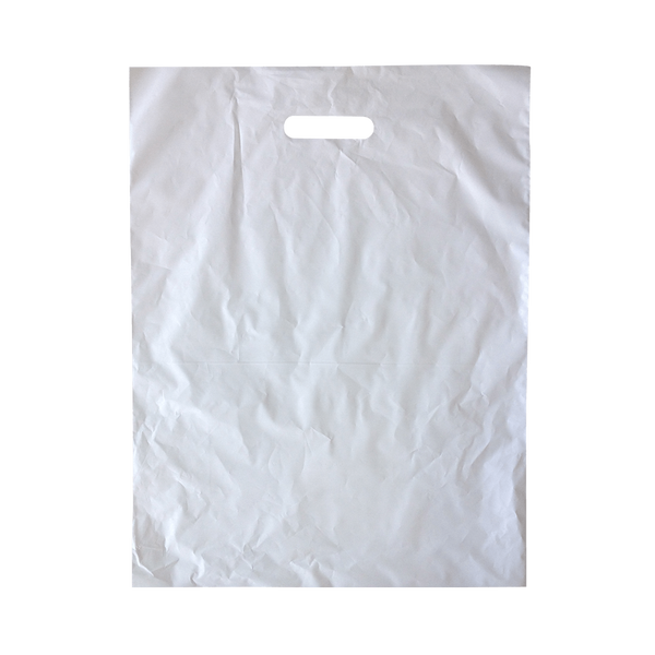 LARGE WHITE PLASTIC BAGS WITH DIE CUT HANDLES - 500 UNITS