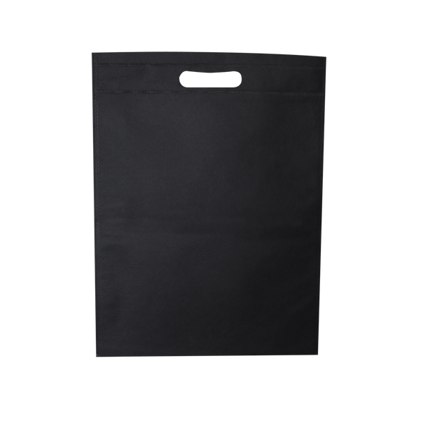 WELDED BLACK ECO BAGS WITH DIE CUT HANDLES - 500 UNITS