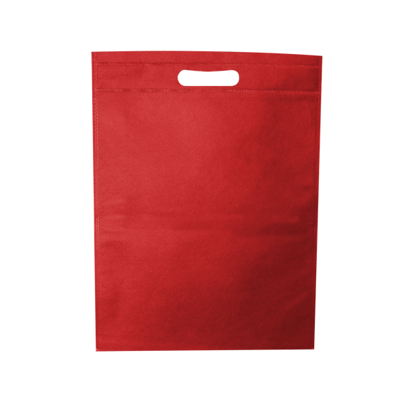 WELDED RED ECO BAGS WITH DIE CUT HANDLES - 500 UNITS