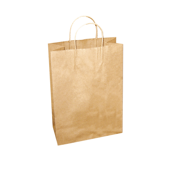 MEDIUM BROWN KRAFT PAPER BAGS WITH TWIST HANDLES - 250 UNITS