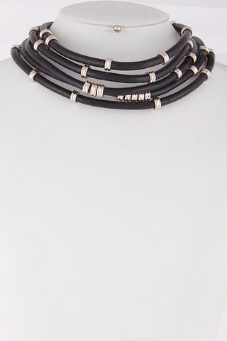 Faux Leather Layered Collar