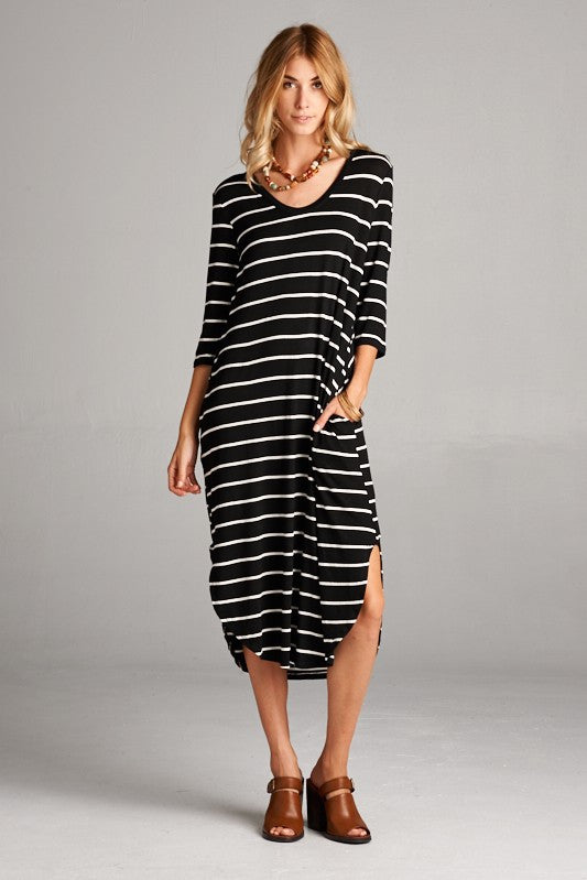 3Q Sleeve Pocket Dress