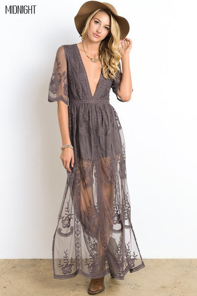 Lace Maxi Dress Romper