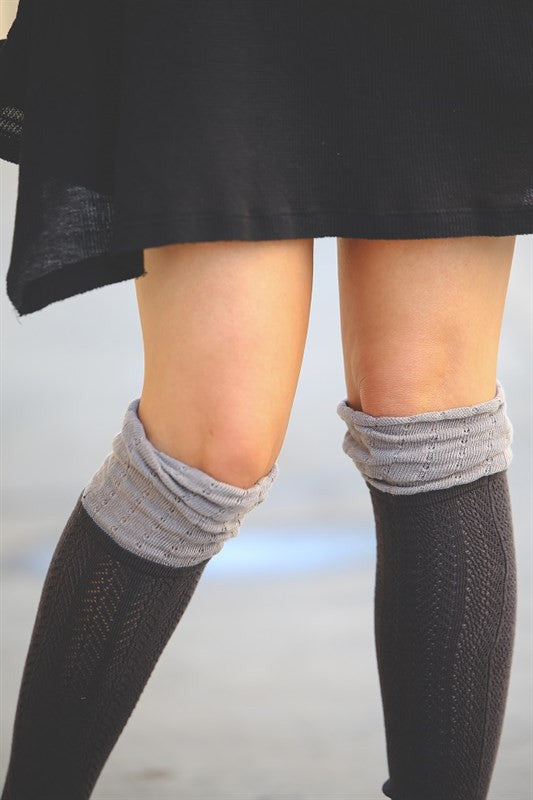 Color Block Knee High Socks