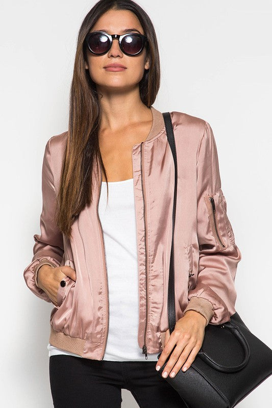 LS Satin Bomber Jacket