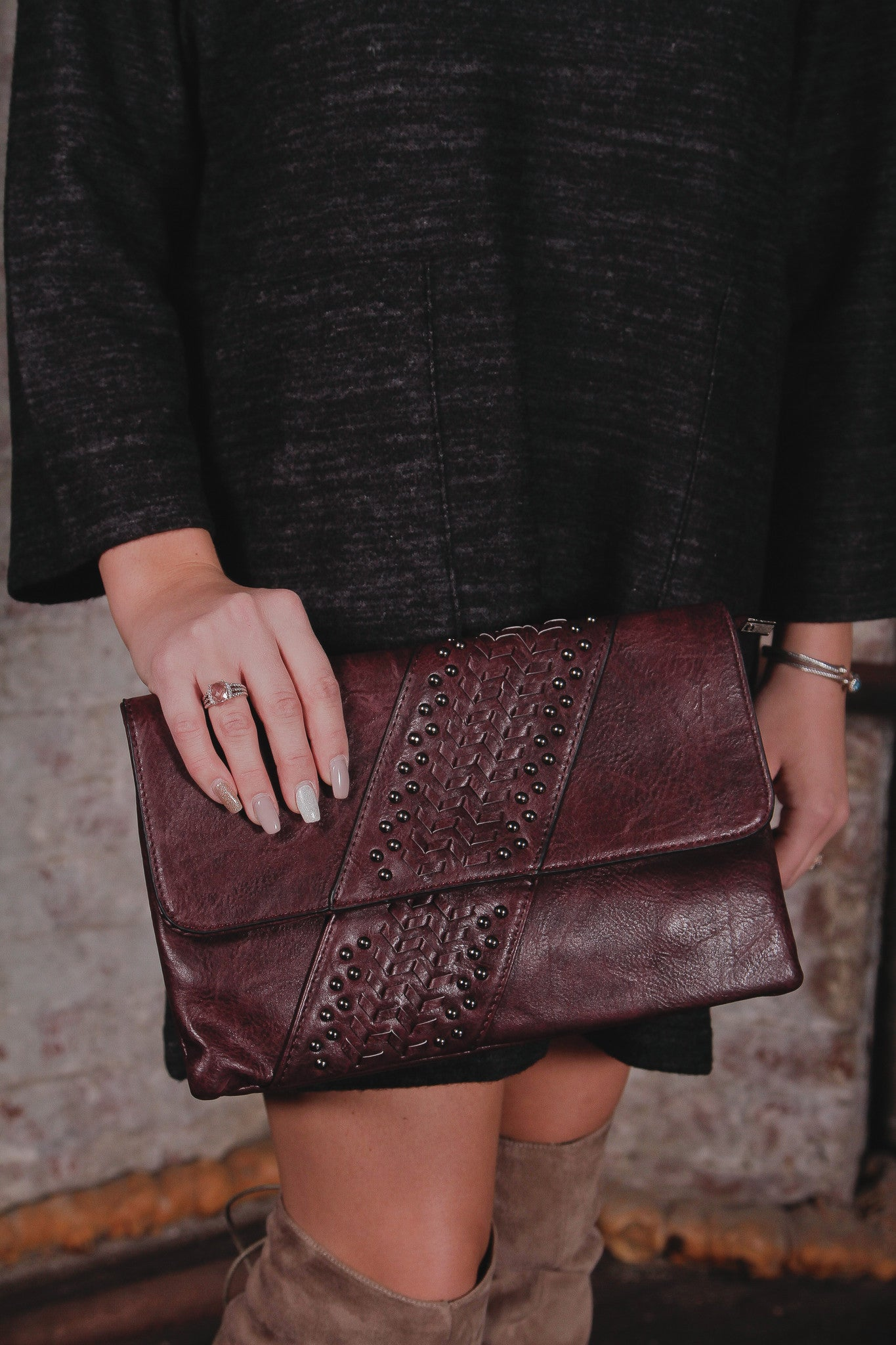 Rectangle Flap Studded Clutch