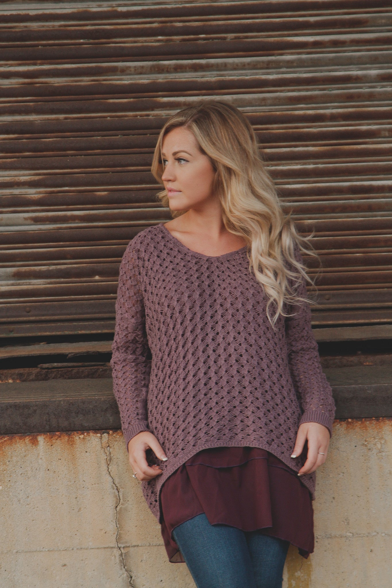 Sweater Tunic w/Chiffon Layers