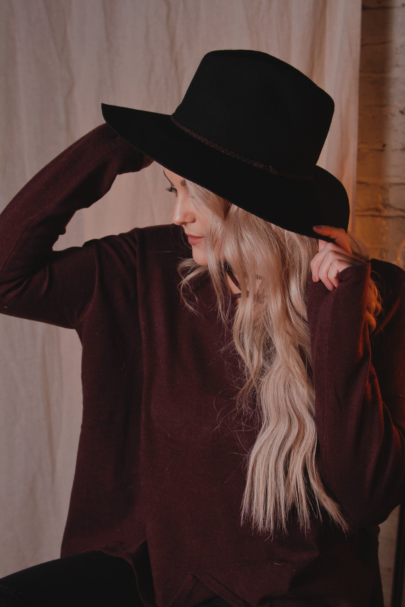 Wool Felt Suede Braid Hat