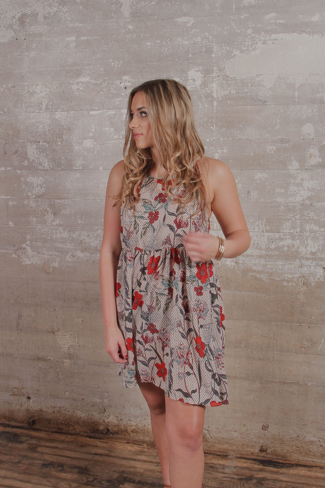 Sleeveless Floral Print Halter Neck Dress