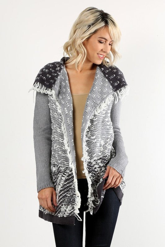 Patterned Loose Knit Cardi