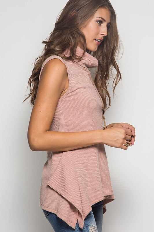 S/L Turtleneck Ribbed Tunic