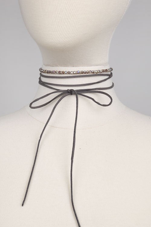Suede Body Crystal Beads Choker