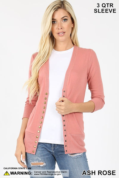 3/4 Sleeve Snap Button Cardi