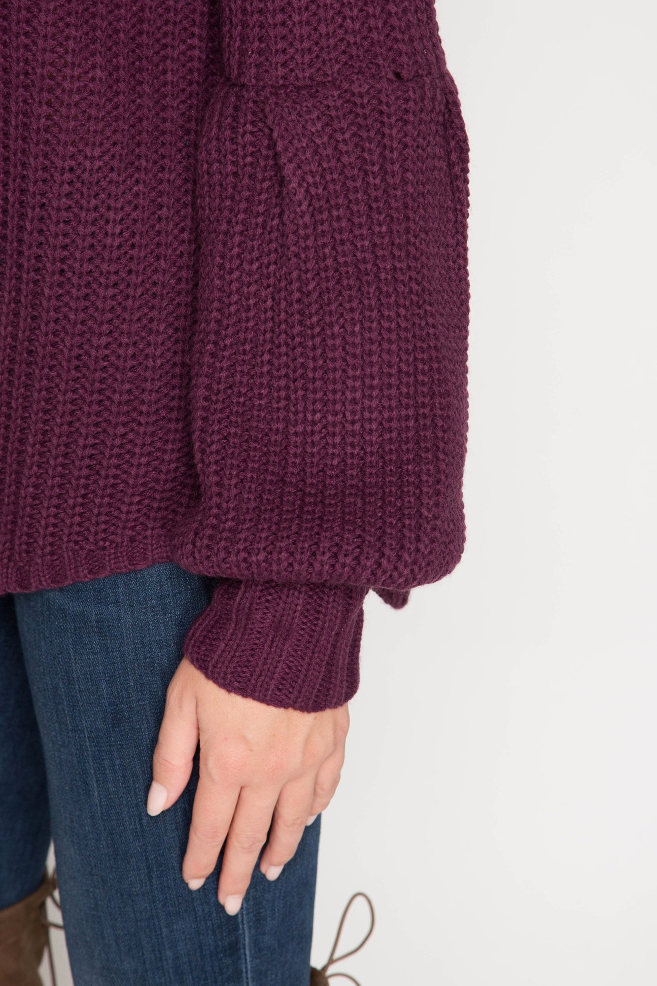 Balloon Sleeve Off Shoulder Sweater