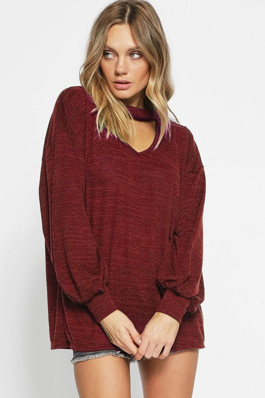 Knit Top w/Puff Sleeves