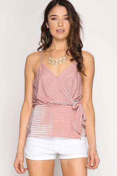 Burnout Velvet Striped Cami
