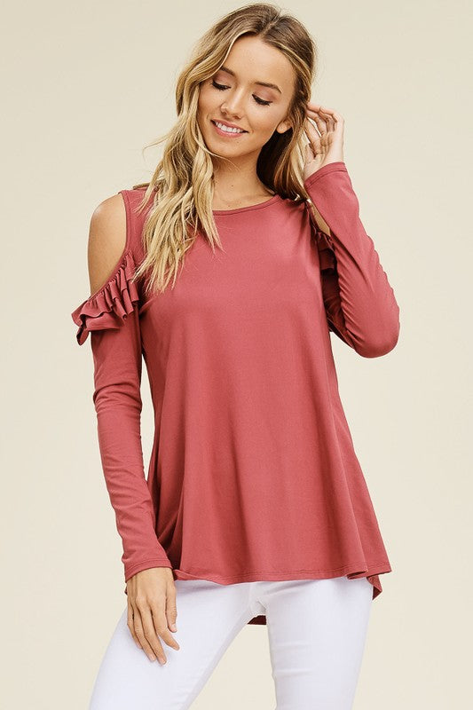 Cold Shoulder Top w/Ruffle