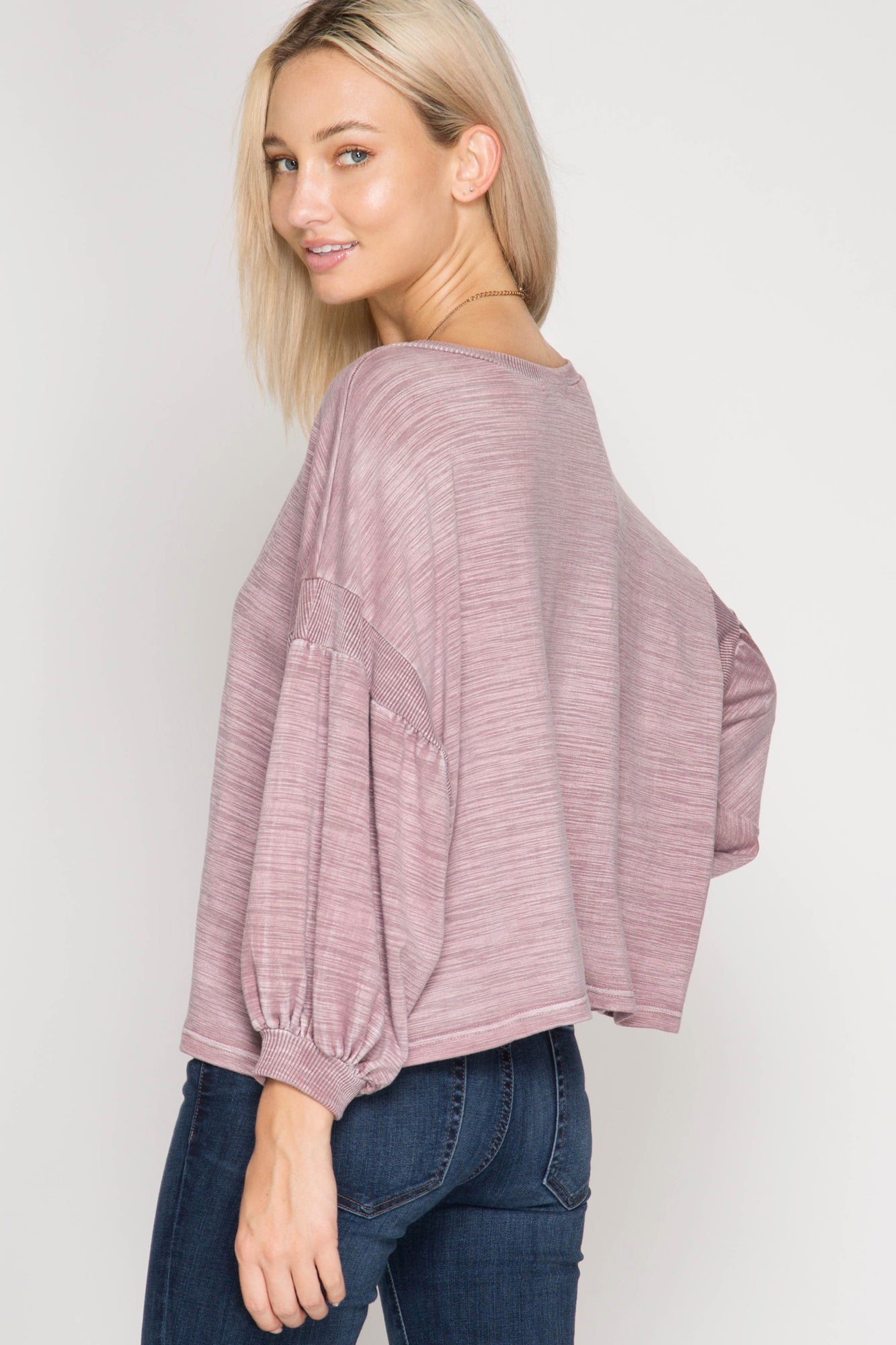Balloon Sleeve Slub French Terry Top